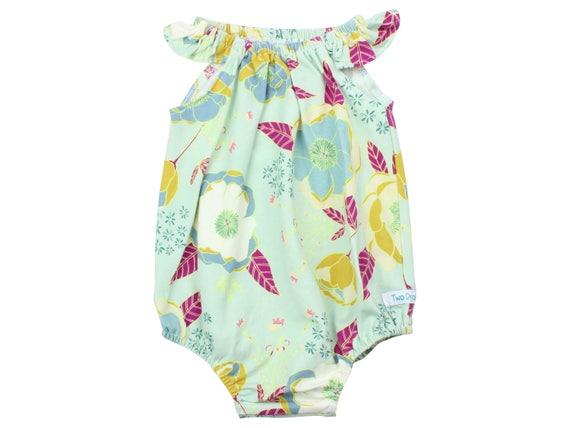 Baby Romper with Snaps  Mint Burgundy Baby Romper Summer Floral Romper Modern Baby Romper Flutter Sleeve Romper Knit Romper Wild Flower