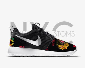 Chicago Blackhawks 17' Nike Roshe One V5 Edition Custom Men Women & Kids