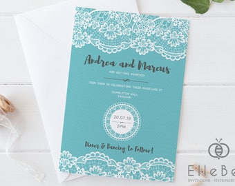 Lace Wedding Invitation // Tiffany Blue Wedding Invite // Tiffany Lace Wedding  Invitations /