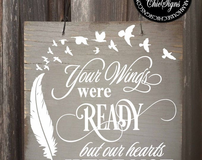 your wings were ready, memorial gift, memorial plaque, bereavement gift, bereavement, sympathy gift, sympathy