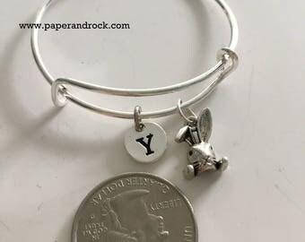 Bunny initial bangle, rabbit bracelet, bunny rabbit bracelet, silver rabbit bangle, animal bracelet, Easter bracelet, rabbit