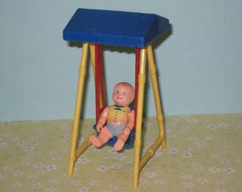 1950s Renwal Hard Plastic Dollhouse Swing (as is) and Baby Boy Doll