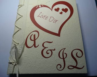 Ivory and Burgundy guestbook heart