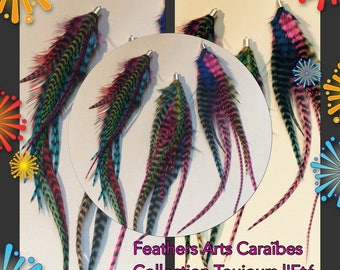 multicolored grizzly Rooster feathers 3 pendants