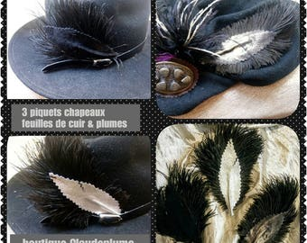 pegs 3 sheets of leather and ostrich feathers