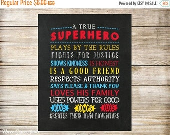 SALE PRINTABLE ART Superhero Wall Art Superhero Nursery Art  Superhero Room Decor Superhero Rules