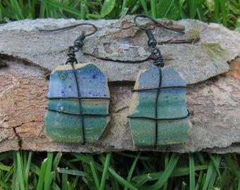 Blue and green pottery shard dangle earrings