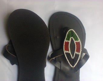 Masai/masaai ladies sandals with kenya flag colors
