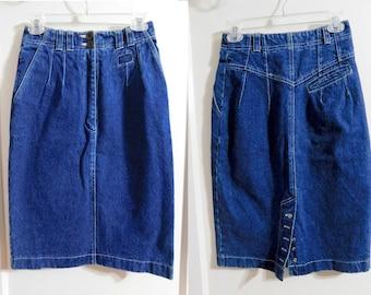 Vtg 80s 90s Together! High Waist Heavy Jean Denim Tube/Pencil Skirt XS 2 26