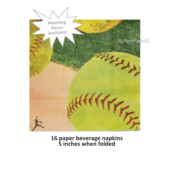 Il_570xn  sc 1 st  Catch My Party & softball beverage napkins softballs cocktail napkins girls sports ...