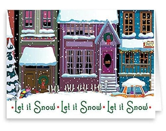 Let It Snow - Funny Christmas Card 18 Cards & Envelopes - Santa Buried In The Snow - 20067