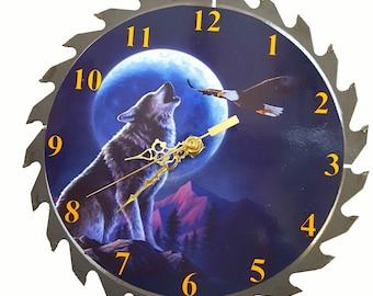 "CLOCK Wolf/Eagle 7 1/4"" Saw Blade Clock Free Shipping"