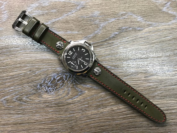 Leather Watch Band, 24mm straps, Army Green, Handmade, leather watch strap, watch strap for Panerai, 24mm, 26mm, Red stitching