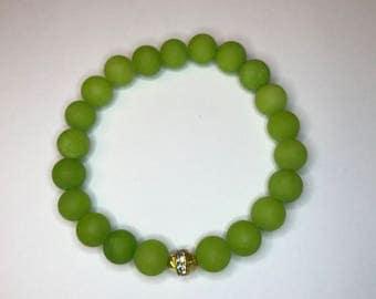 Matte Green Beaded Stretch Bracelet Closeout Sale