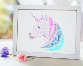 Personalised Magical Unicorn Framed Word Art Cloud Gift