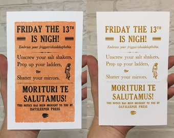 Limited Edition Friday the 13th Letterpress Print