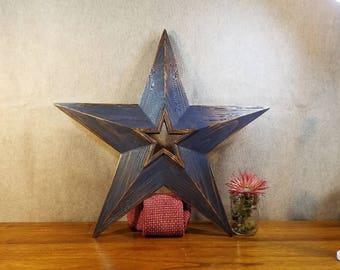 Rustic Wood Star, Star Wall Art, Blue Wood Star, Rustic Home Decor,