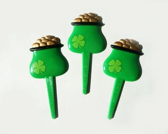 24 Pot of Gold St. Patrick's Day Cupcake Picks Cake Toppers Decorations Party Supplies