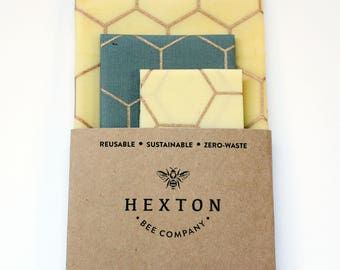 Reusable Food Wrap Starter Pack Honeycomb - Beeswax Wrap - Eco Friendly - Plastic Wrap Alternative - Zero Waste - Sustainable