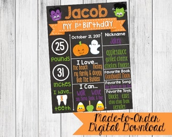 First Birthday Chalkboard Halloween Pumpkins Ghost Monsters Made to Order *DIGITAL FILE*