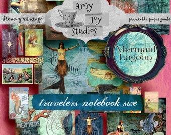 TRAVELERS NOTEBOOK Mermaid  Lagoon  Victorian Vintage  Journal Kit  Travelers Notebook Inserts  Printable journal  Mini Album  Journal Cards