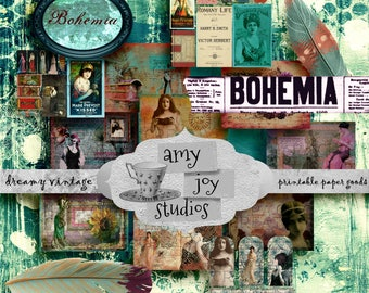 BOHEMIA Printable Junk Journal Kit Boho Gypsy Journal Mixed Media Printable Digital Journal Kit Bohemian Paper Ephemera Pack Bohemian