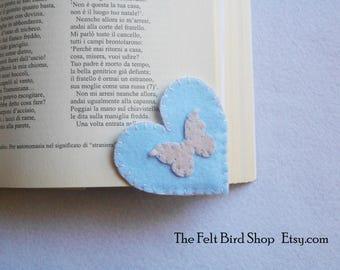 Corner bookmark - Butterfly bookmark - Heart bookmark - Handmade bookmark - Felt bookmark - Unique bookmark