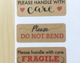 Fragile Handle with Care, Do not Bend Mail kraft stickers - 60 address