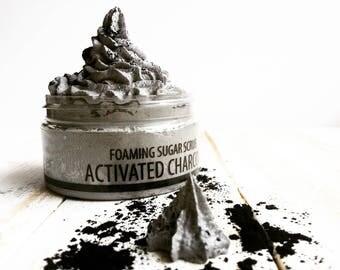 Charcoal Sugar Scrub, Whipped Sugar Scrub, Sugar Scrub, Foaming Sugar Scrub, Activated Charcoal, Detox Body Scrub, Whipped Soap