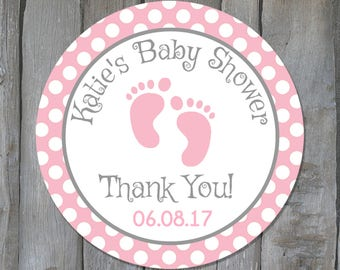 Personalized Baby Girl Shower Favor Stickers - Pink Baby Feet Shower Favor Tags - Baby Shower Favors