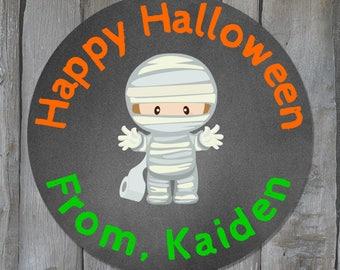 Personalized Happy Halloween Mummy Stickers - Halloween Treat Bag Labels - Customized Halloween Stickers - Buy 3 Get 1 Free