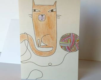 "Greeting card ""Whimsical Cat and yarn"" card Whimsical Blank greeting cards Nursery framable art kids wall art knitters crochet yarn card"
