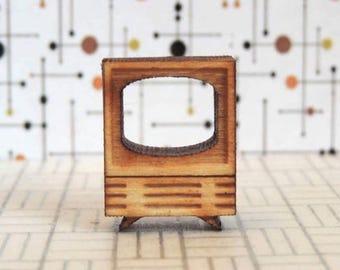 Quarter Scale TV KIT- 1:48, 1/4 Mid Century Modern Dollhouse Miniature