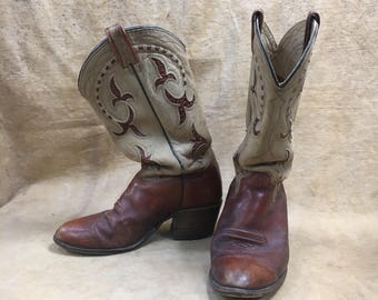 Leather Cowboy Boots Vintage Suede Mens 10 Texas Inlay