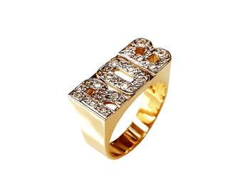 Lee127d-14K 8.5mm 14K Gold Block Letter Name Ring w/ 15 Diamond