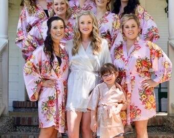 Set of Robes, Bridesmaid gifts, Bulk Bridesmaid robes, satin floral bridesmaid robes, set of 6, 7, 8, 9, 10, bulk bridesmaid gifts, custom