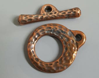 Antique Hammered Look Copper Plate Toggle Clasp, Ring OD 13.5mm ID 7.2mm , 17.5mm Bar