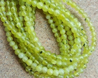 "Genuine Peridot 3mm Round Beads - 15.5"" Strand"