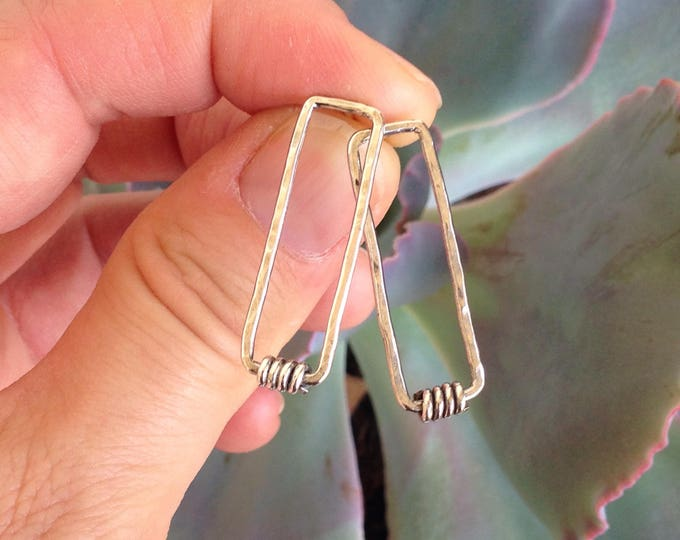 Rectangle silver post earrings with silver twists