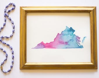 Virginia State WatercolorArt in Blue, Purple and Pink