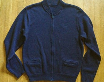 Vintage Navy Blue Utility Zip Cardigan Minimalist