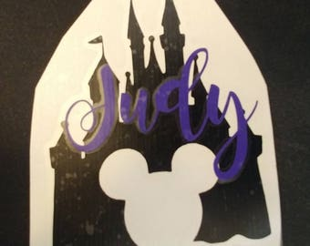 Disney Castle with Mickey Mouse Head Vinyl Decal   Cinderella's Castle   Princess Castle    Personalized with Name or Monogram!