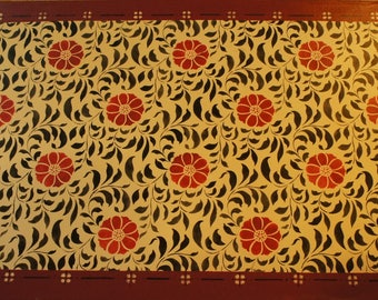 Hand painted and stenciled floorcloth