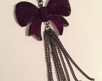 Bow Necklace (deep purple rhinestone)