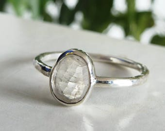 Polki Moonstone Ring Sterling Silver Hammered Texture