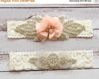 ON SALE Wedding Garter, NO Slip Lace Wedding Garter Set, bridal garter set, pearl and rhinestone garter set, vintage rhinestones Style A2034