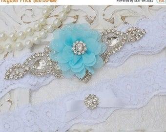 ON SALE Wedding Garter, Bridal Garter, Garter Set, Stretch Lace Garter, Crystal Rhinestone Garter,  Blue Flower Garter, Vintage  Garter