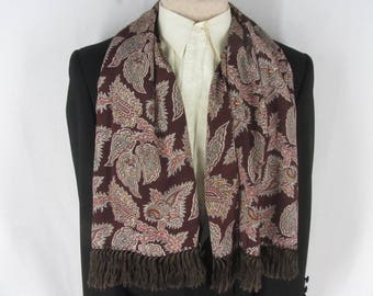 Vintage Brown Paisley Formal Opera Scarf Cravat Rayon Faille Fringed