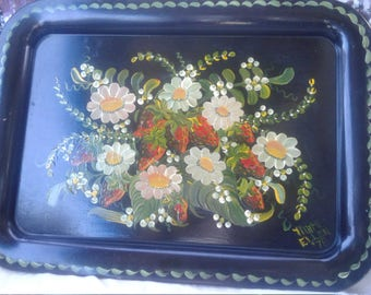 Vintage 1970's Handpainted Tray/ Signed/ Dated/Daisies/Strawberries