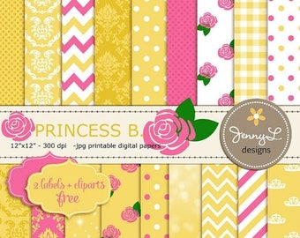 50% OFF Princess Belle Printable Digital Papers , Rose Flower Clipart
